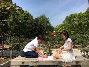 公園で将棋をする女の子たち