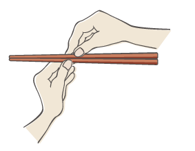 箸をわるイラスト